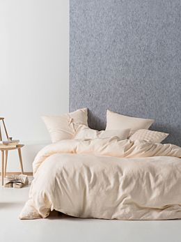 Nimes Peach Linen Quilt Cover Set