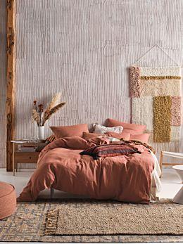 Nimes Rust Linen Quilt Cover Set